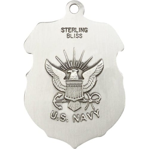 Sterling Silver St. Michael Pendant / Navy