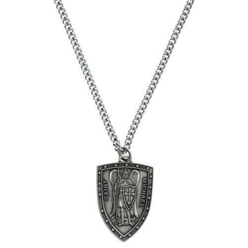 Sterling silver st michael shield medal 1 14 inch the sterling silver st michael shield medal 1 14 inch mozeypictures Gallery