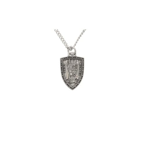Sterling Silver St. Michael Shield Medal, 3/4 inch