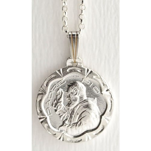 Sterling Silver St. Padre Pio Medal w/ Chain