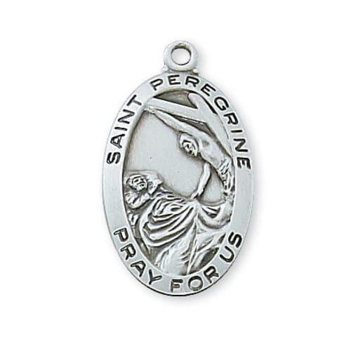 Sterling Silver St. Peregrine Medal with 18 inch chain