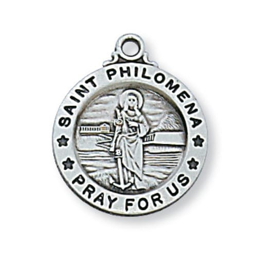 Sterling Silver St. Philomena Medal with 18 inch chain