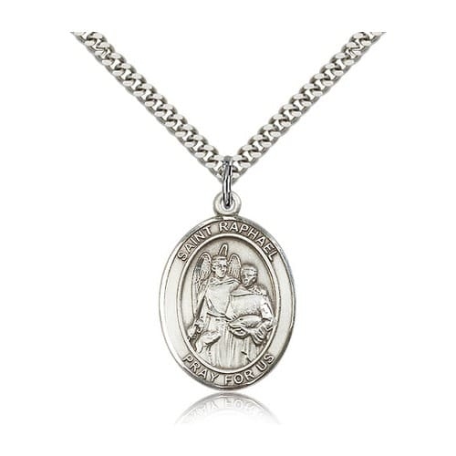 Sterling Silver St. Raphael the Archangel Pendant w/ chain