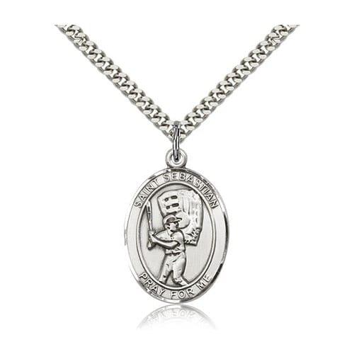 Baseball medals patron saint baseball medals the catholic company sterling silver st sebastian baseball pendant w chain aloadofball Gallery