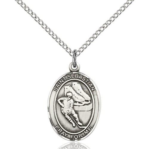 sterling silver st sebastian hockey pendant the