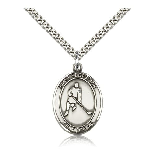 Sterling Silver St. Sebastian/Ice Hockey Pendant w/ chain