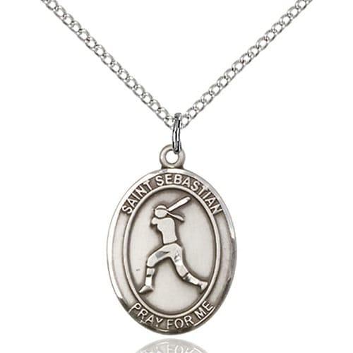 sterling silver st sebastian softball pendant the