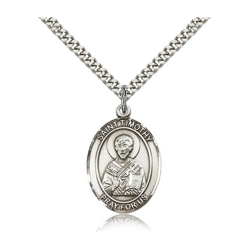 Sterling Silver St. Timothy Pendant w/ chain