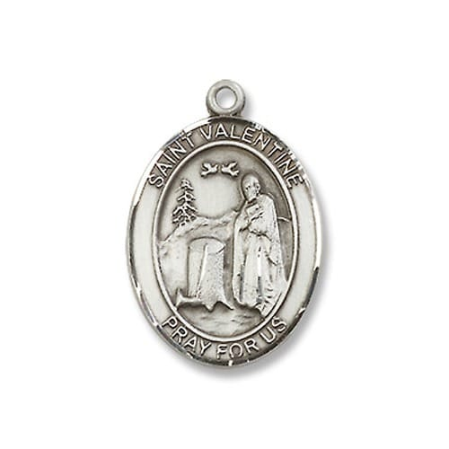 Sterling Silver St. Valentine of Rome Pendant w/ Chain