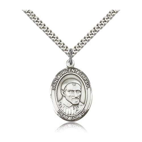 Sterling Silver St. Vincent de Paul Pendant w/ chain