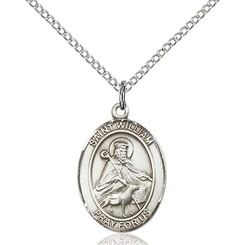 429643a4955 Sterling Silver St. William of Rochester Pendant w/ Chain | The Catholic  Company