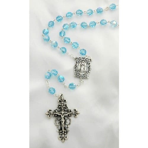 Sterling Silver Swarovski Aqua Rosary with Our Lady of Lourdes Medal