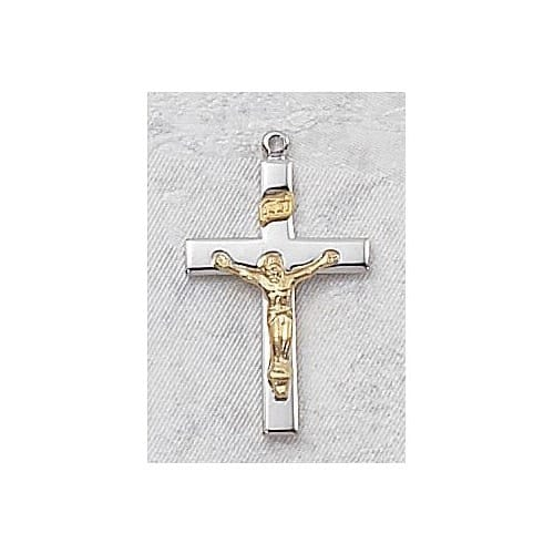 Sterling Silver Tutone Crucifix on 18 inch chain