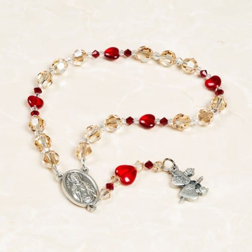Swarovski Crystal Chaplet of the Two Hearts