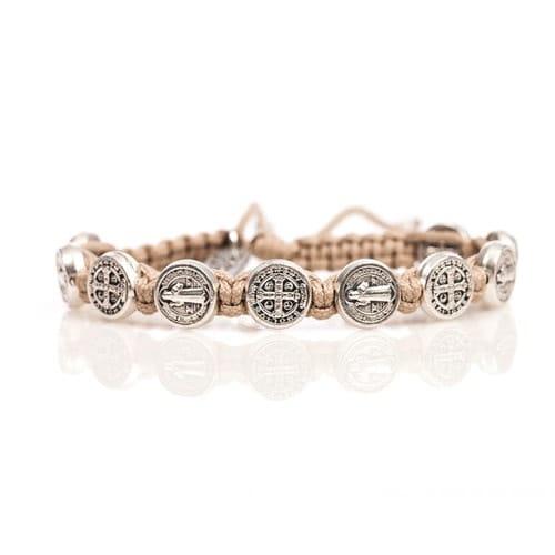 Tan Silver St Benedict Blessing Bracelet