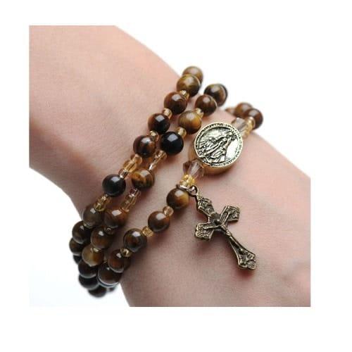 Tiger Eye Style Rosary Wrap Bracelet The Catholic Company