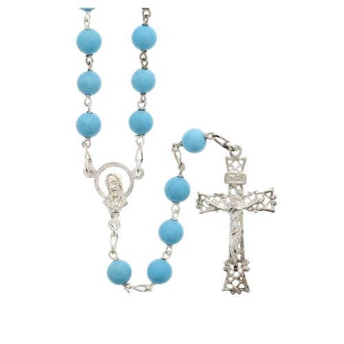 Turquoise Blue & Sterling Silver Rosary