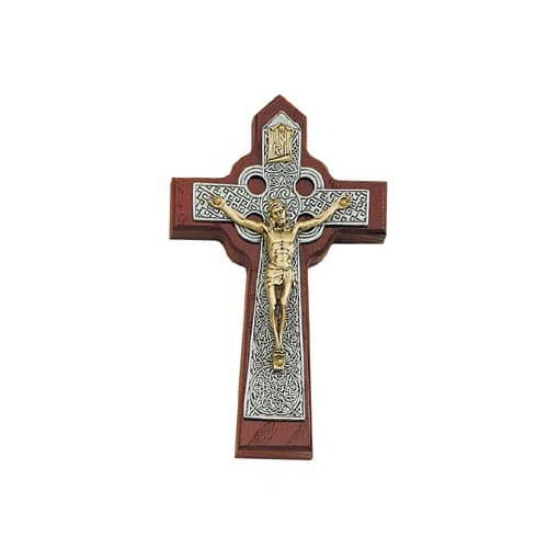 Two Tone Celtic Crucifix on Cherry 6 inch