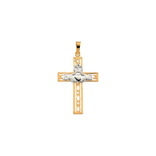 Two Tone Claddagh Cross Pendant-14K Gold