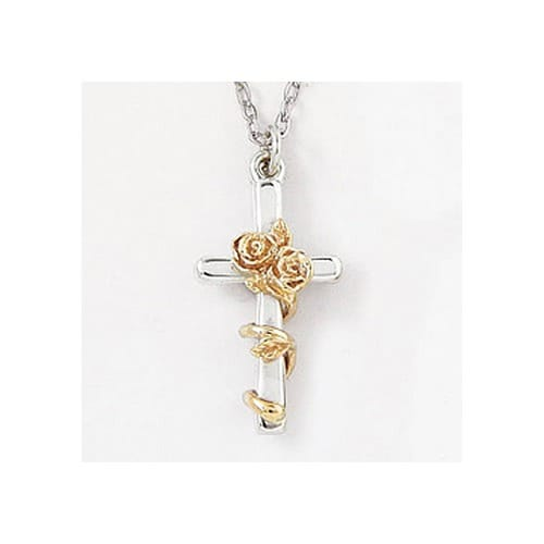 Two-Tone Rose Cross Sterling Silver Pendant