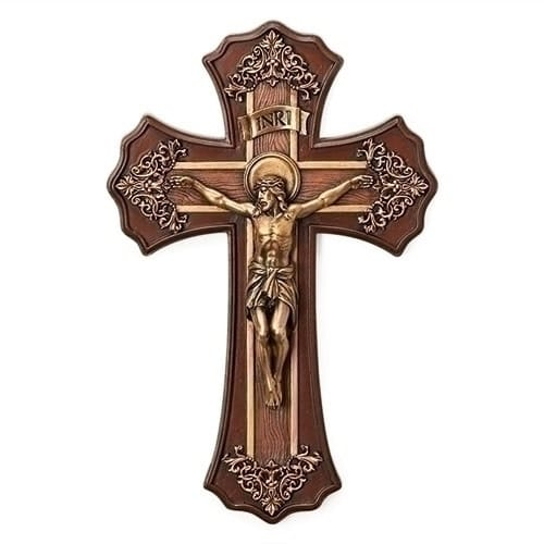 Victorian Crucifix Wood Look W Antique Gold The