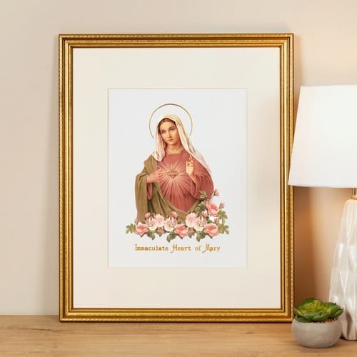 Vintage Immaculate Heart of Mary Framed Print