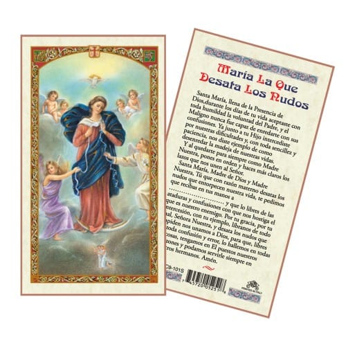 Virgin Mary Untier of Knots Laminated Prayer Card - Spanish