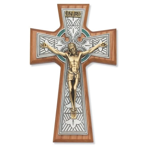 Walnut Celtic Cross with Gold Corpus - 8 inch