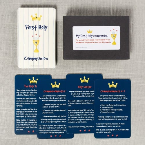 Watercolor First Communion Activity Cards - Boys