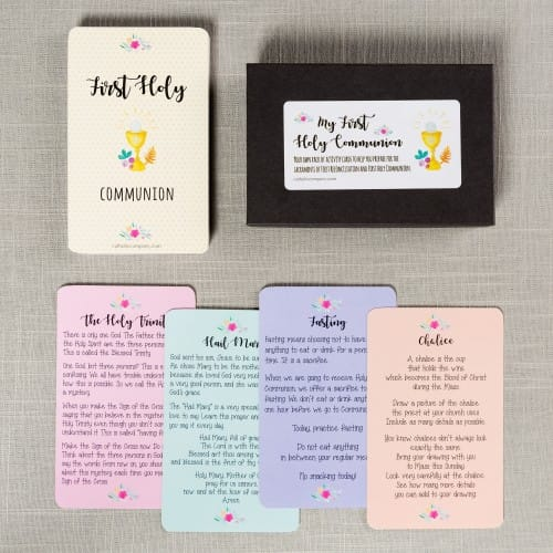 Watercolor First Communion Activity Cards - Girls