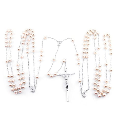 Wedding Lasso Rosary - Pearl Beads - Silver Chain