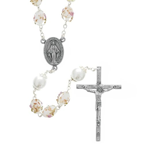 White Decorated Czech Glass Rosary