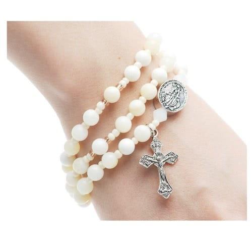 White Jasper Rosary Wrap Bracelet