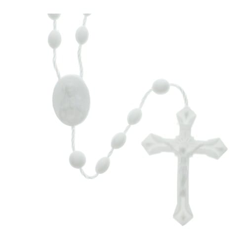 White Plastic Rosaries - Pkg of 100