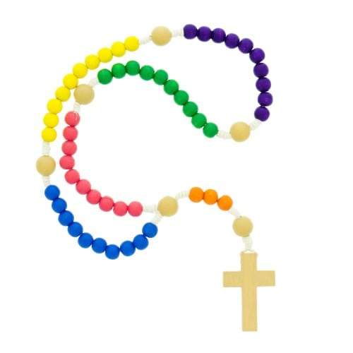 Wood Multi-Colored Children's Corded Rosary