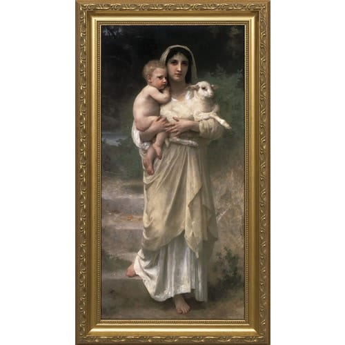 Young Shepherdess w/ Gold Frame