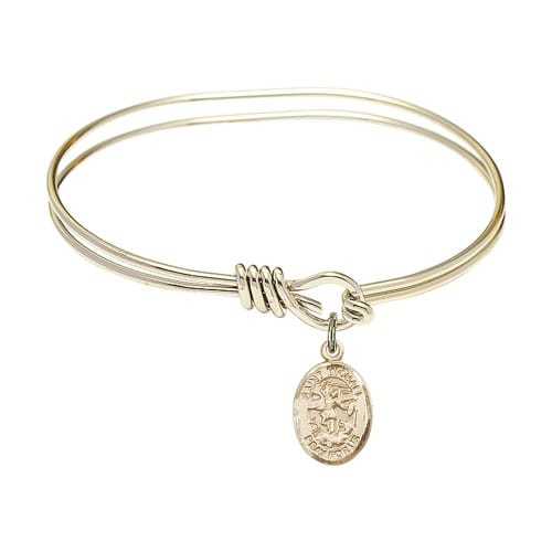 Youth 5 3 4 Gold Plated Bangle Bracelet With St Michael The