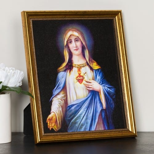 Zabateri Immaculate Heart of Mary Gold Framed Print