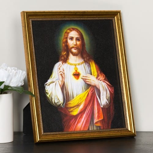 Zabateri Sacred Heart Of Jesus Gold Framed Print The Catholic Company