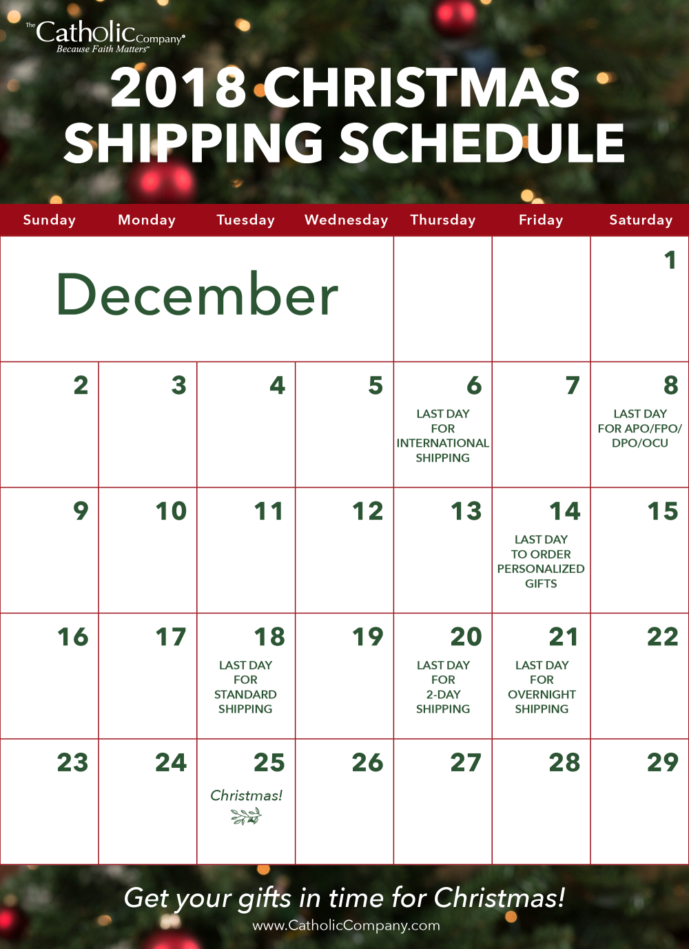 2018 Christmas Shipping Schedule at CatholicCompany.com