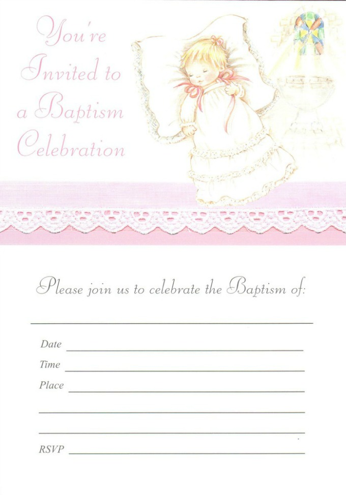 Be sure to send invitations well in advance of your baby's baptism party.