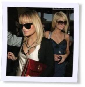 Nichole Richie and Paris Hilton wearing rosary necklaces