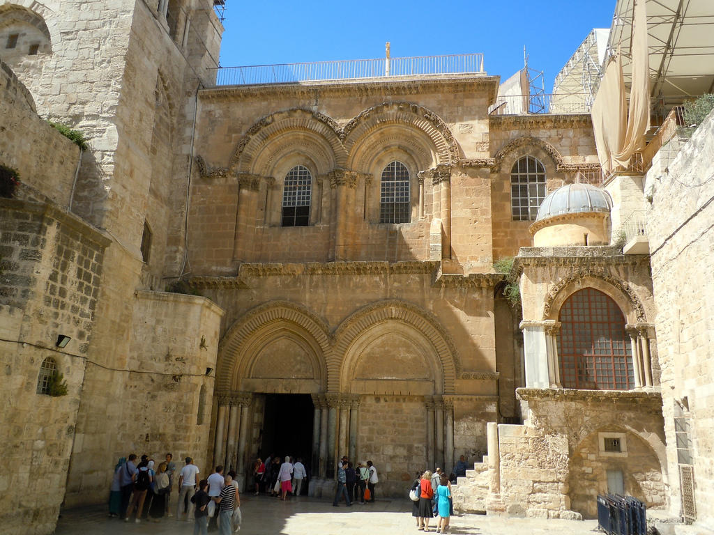 Entrance to the Church of the Holy Sepulcher, Jerusalem.