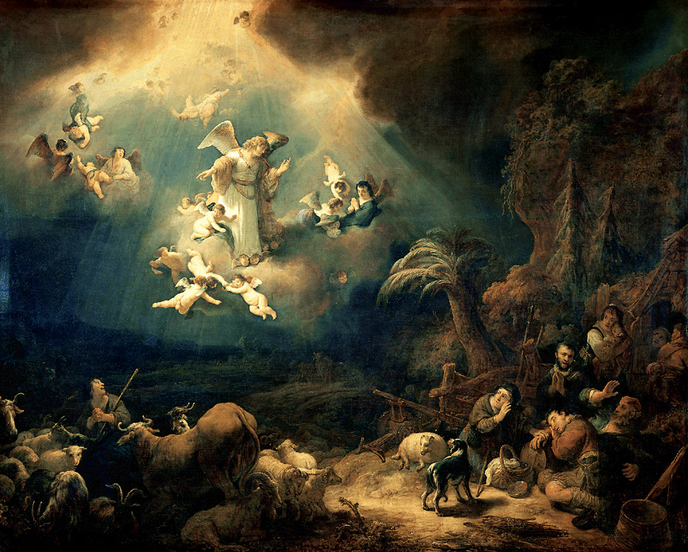 Angels announcing Christ's birth to the shepherds