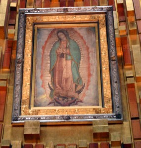 St. Juan Diego's original tilma as it hangs today in the Basilica of Our Lady of Guadalupe in Mexico City