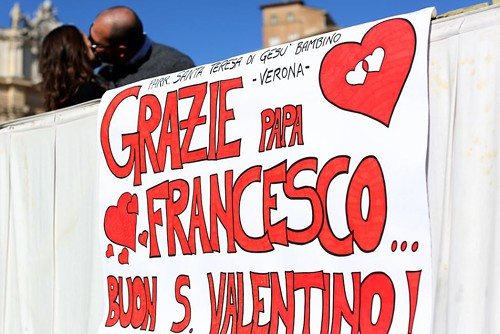 "A message for the pope in St. Peter's Square: ""Thank you, Pope Francis...Happy Valentine's Day!"""