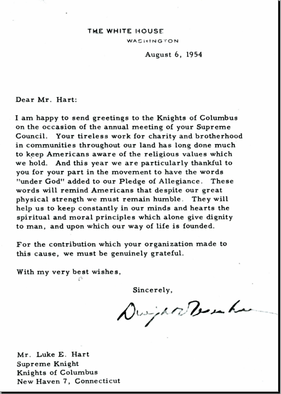 President Eisenhower's letter to Knights of Columbus