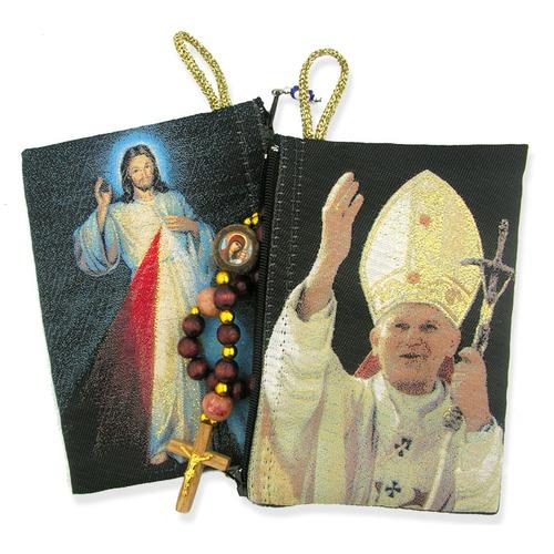 Saint John Paul II & Divine Mercy Rosary Pouch
