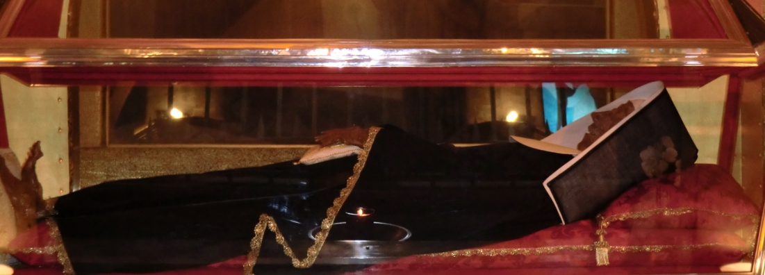 The incorrupt body of St. Rita at Basilica of St Rita in Cascia, Italy.