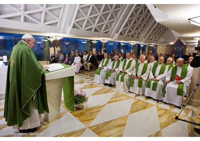 Pope Francis giving his daily homily at Santa Marta